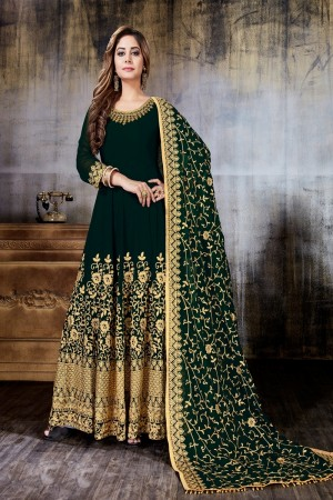 Dark Green Faux Georgette Salwar Kameez