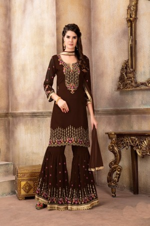 Brown Faux Georgette Salwar Kameez