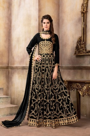 Black Art Silk(Kit-Kat Silk) Salwar Kameez
