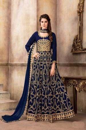 Dark blue Art Silk(Kit-Kat Silk) Salwar Kameez