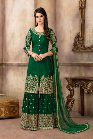 Green Pure Viscose Upada Silk Salwar Kameez