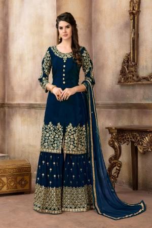 Dark blue Pure Viscose Upada Silk Salwar Kameez