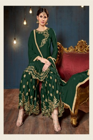 Green Satin Georgette Salwar Kameez