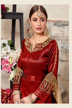 Red Silk (Mulberry) Salwar Kameez