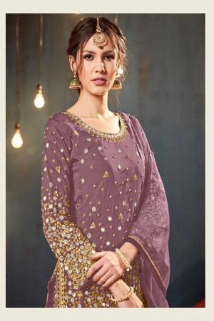 Pink Satin Georgette Salwar Kameez
