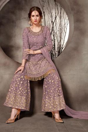 Purple Net Salwar Kameez