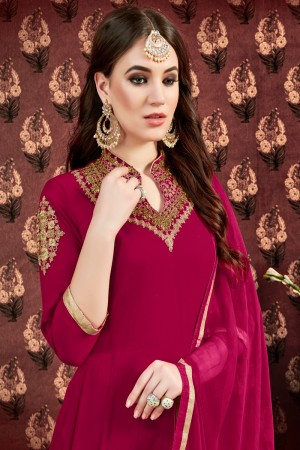 Rani Pink Faux Georgette Anarkali Suit