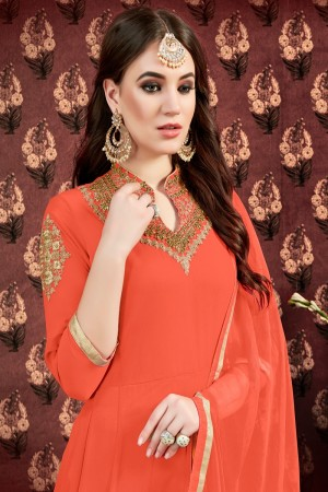 Orange Faux Georgette Anarkali Suit