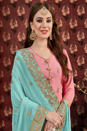 Light Pink Faux Georgette Sharara Suit
