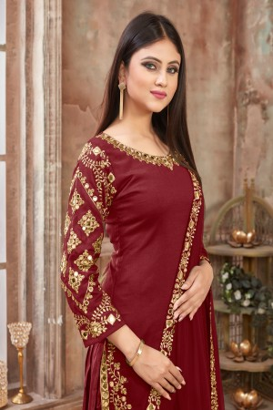 Maroon Art Silk Dhoti Suit