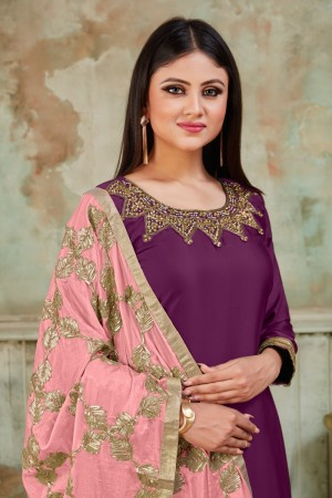 Purple Tanchoi Satin Dhoti Suit