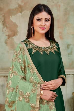 Green Tanchoi Satin Dhoti Suit