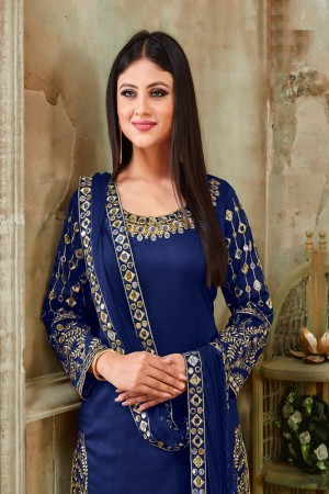 Blue Art Silk Dhoti Suit