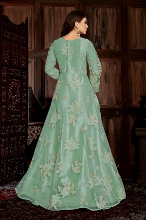 Sky Blue Net Anarkali Suit