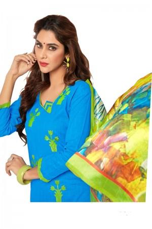 Sky blue Slub cotton dress material