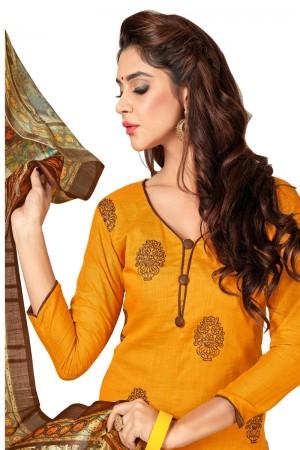 Mustard Slub cotton dress material