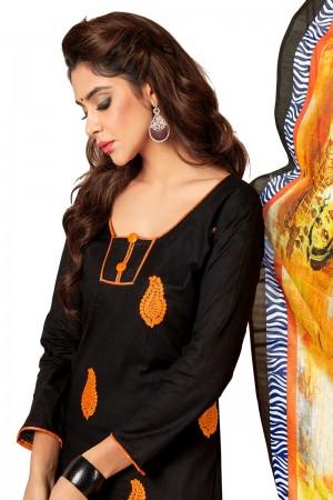 Black Slub cotton dress material