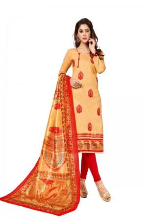 Light orange Slub cotton dress material