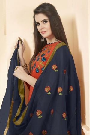 Orange Long slub( cotton) dress material