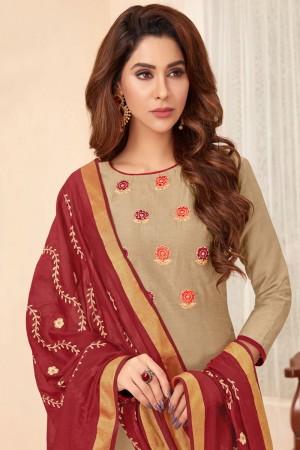 Golden Slub Cotton dress material