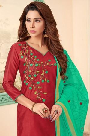 Red Slub Cotton dress material