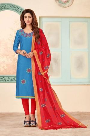 Light blue Slub Cotton dress material