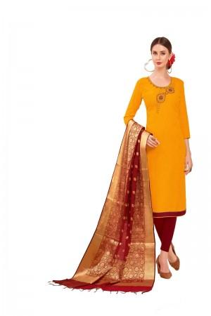 Yellow Slub Cotton dress material