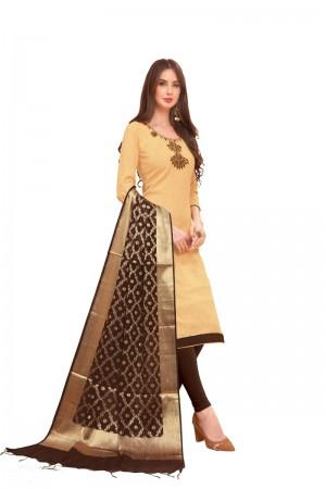 Cream Slub Cotton dress material