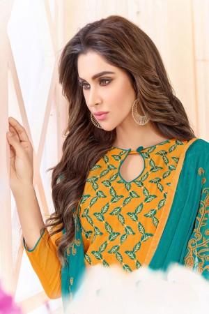 Yellow  Slub Cotton(with choli work) dress material