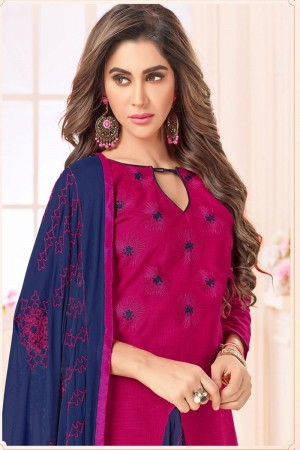 Rani pink  Slub Cotton(with choli work) dress material