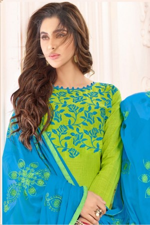 Parrot green  Slub Cotton(with choli work) dress material