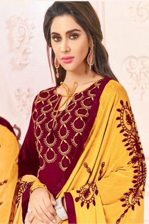 Maroon  Slub Cotton(with choli work) dress material
