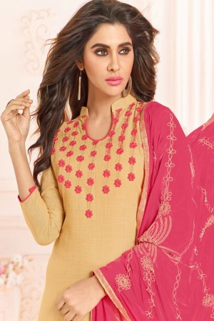 Light Orange  Slub Cotton(with choli work) dress material