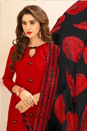 Red Lakda Jacquard dress material