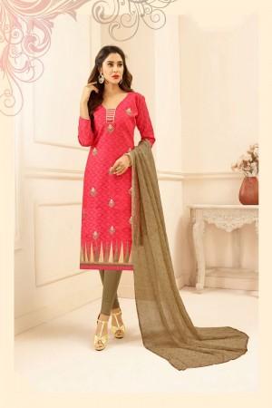 Cerise Lakda Jacquard dress material