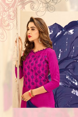 Rani pink Lakda Jacquard dress material