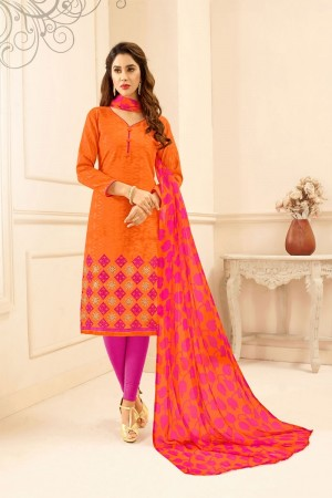 Orange Lakda Jacquard dress material