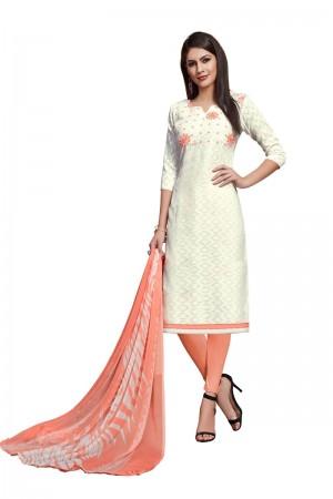 Off White Jacquard dress material