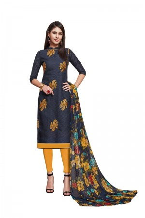 Navy Blue Jacquard dress material