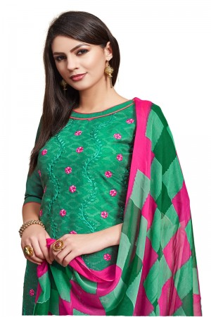 Green Jacquard dress material
