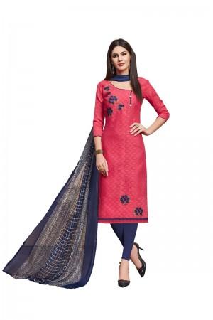 Red Jacquard dress material