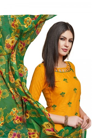 Yellow Jacquard dress material