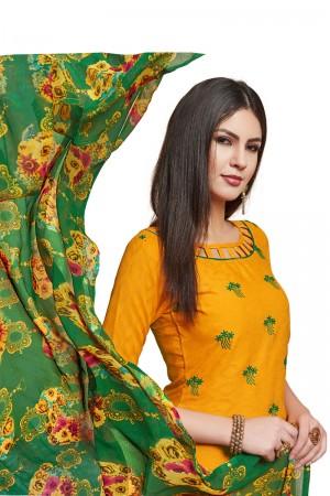 Yellow Jacquard dress material
