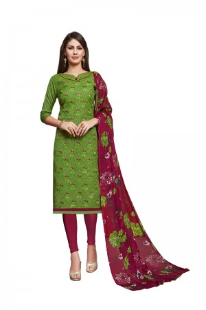 Green Jacquard dress material
