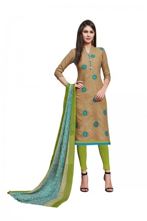 Light Brown Jacquard dress material