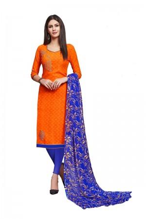 Orange Jacquard dress material