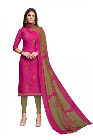 Rani Pink Jacquard dress material