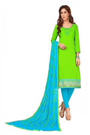 Parrot green Slub Cotton dress material