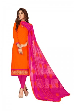 Orange Slub Cotton dress material