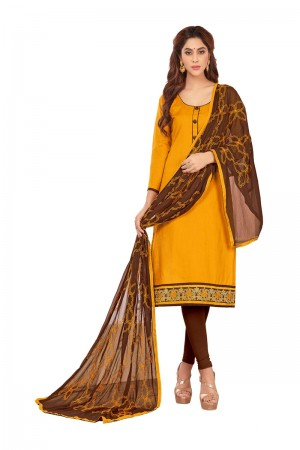 Mustard Slub Cotton dress material